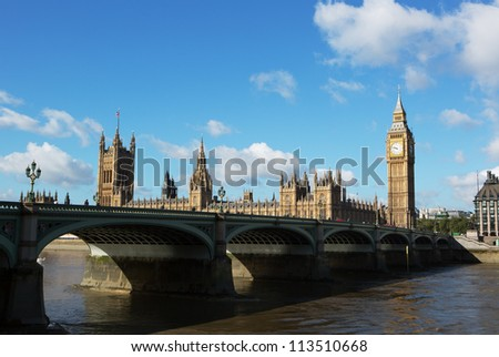 Houses of Parliament with westminster bridge - stock photo
