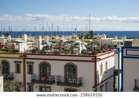 Houses of Puerto de Mogan, a small fishing port and resort on Gran Canaria Island, Spain