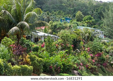 Houses Seychelles Surrounded By Beautiful Gardens Stock Photo