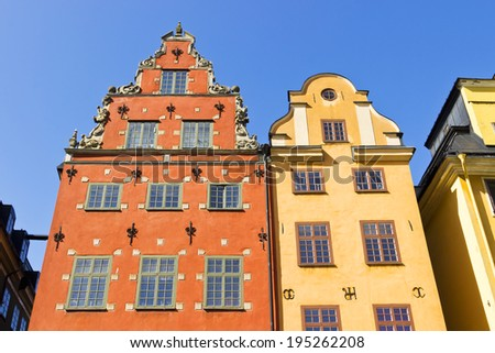 Houses of Stortorget place in Gamla stan, Stockholm, Sweden - stock photo