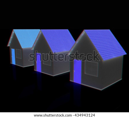Houses. On a black background. 3D illustration. Anaglyph. View with red/cyan glasses to see in 3D.. On a black background. 3D illustration. Anaglyph. View with red/cyan glasses to see in 3D.