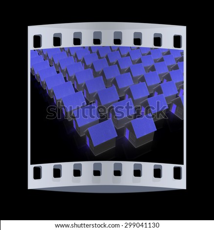 Houses on a black background. The film strip - stock photo