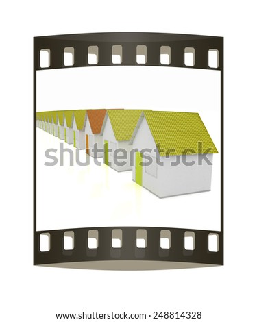 Houses on a white background. The film strip - stock photo