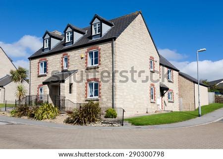 Houses on English street - stock photo