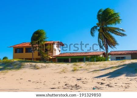 Houses on the coast of Natal, Brazil - stock photo