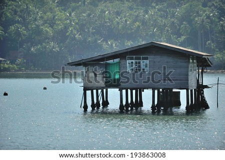 Houses on the sea - stock photo