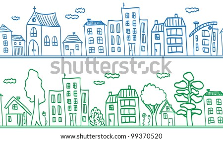 Houses seamless pattern background - small town