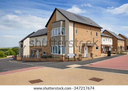 Houses typical english residential estate - stock photo