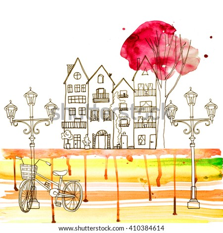 Houses watercolor old city europe - stock photo