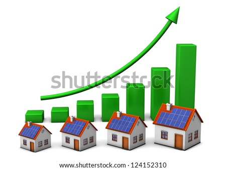 Houses with green chart on the white background. - stock photo