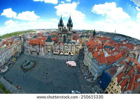 Houses with traditional red roofs in Prague Old Town Square in the Czech Republic. Fisheye Lens top view. - stock photo