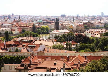 Houses with traditional red roofs in Prague. Prague (Praha) is capital and largest city of Czech Republic  - stock photo
