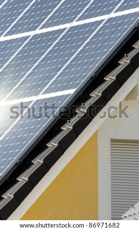 Housetop with solar - stock photo