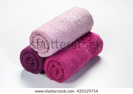 housewarming gift roll towel isolated  - stock photo