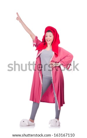 Housewife after taking the shower on white - stock photo