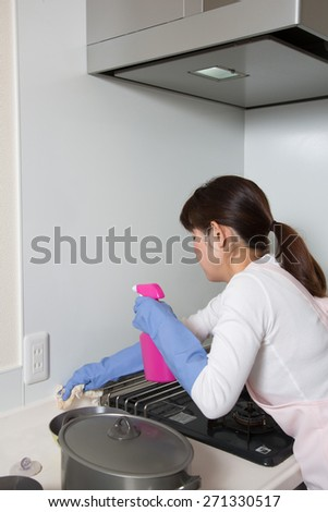 housewife cleaning the kitchen