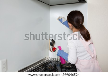 housewife cleaning up kitchen - stock photo