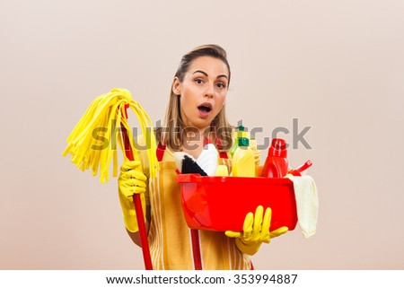 Housewife has got a lot of things to clean,she is in panic and she is wondering will this chores ever end.Housewife in panic