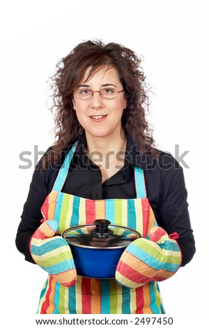 Housewife in apron holding a blue pan
