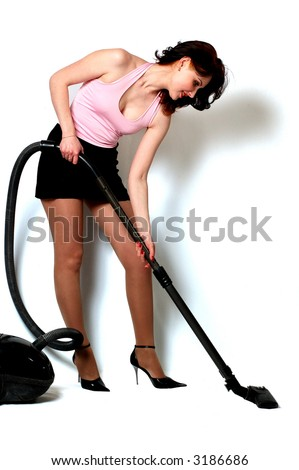 housewife makes housework isolated on white - stock photo