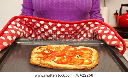 Housewife presenting freshly baked pastry dish - stock photo