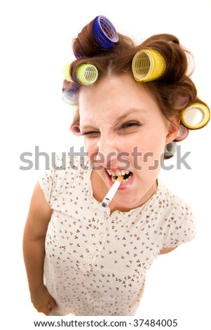 Housewife with cigarette on white background