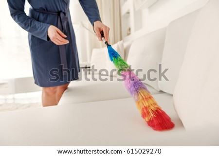 Housewife working with colorful duster