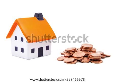 housing and money on white background - stock photo