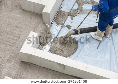 Housing construction foundation works - stock photo