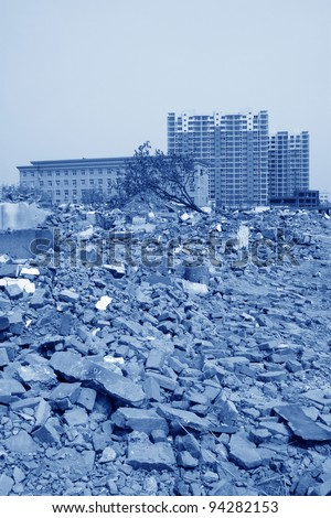 housing demolition materials in the demolition site, take photos in Luannan County, Hebei Province of China??