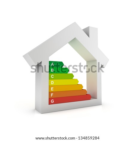 Housing energy efficiency rating certification system - stock photo