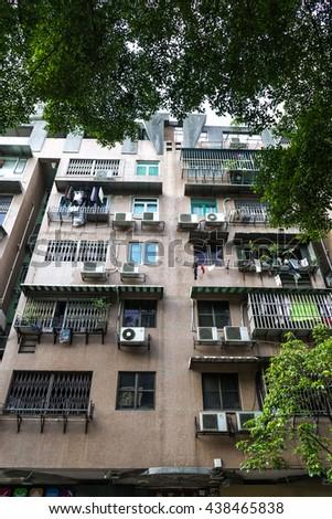 Housing facade in Hongkong, China - stock photo