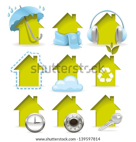 Housing icons. All of the properties inherent in a modern building in one set. - stock photo