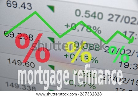 "Housing market concept. Down trend arrow and percent sign. Inscription ""mortgage refinance"" - stock photo"
