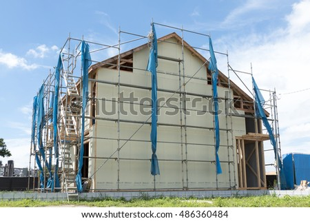 Housing wooden two-story construction site image scaffolding