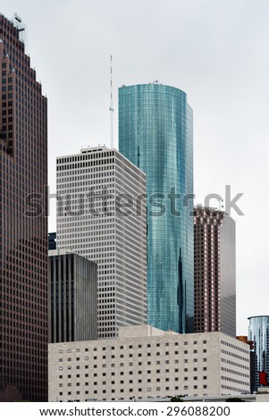 HOUSTON - APRIL 2: Beautiful street view in downtown of Houston. Houston, Texas - April 2, 2014. - stock photo