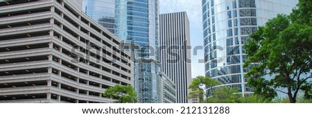 Houston Buildings. City skyline with modern skyscrapers on a beautiful sunny day. - stock photo