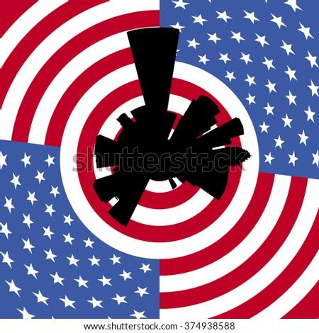 Houston circular skyline with American flag illustration - stock photo