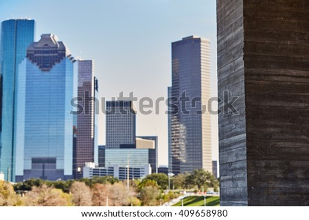 Houston city skyline from west in Texas USA - stock photo