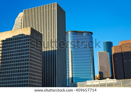 Houston downtown skyline of Texas city in US USA North America - stock photo