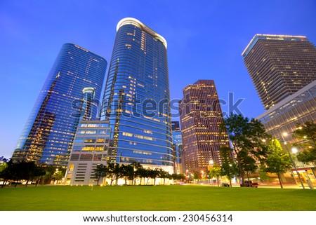 Houston Downtown skyline sunset modern skyscrapers at Texas US USA - stock photo