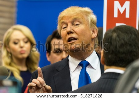 HOUSTON - FEBRUARY 25, 2016: President-elect Donald Trump talks to the media after the Republican National Debate in Houston, Texas.