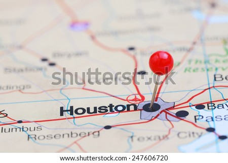 Houston pinned on a map of USA  - stock photo
