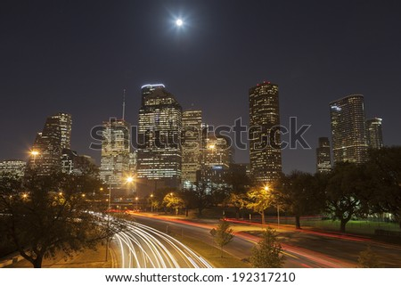 Houston Skyline at Night with Moving Traffic, Texas, USA