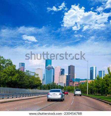 Houston skyline from Buffalo Bayou Pkwy Texas US USA - stock photo