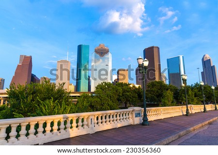Houston skyline from Sabine St bridge Texas USA US America - stock photo
