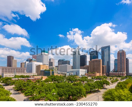 Houston skyline from south in Texas US USA - stock photo