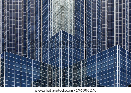 HOUSTON, TEXAS - MARCH 26, 2013: Window Structure of Williams Tower in Houston, Texas. The Williams Tower is a 64 story near Galleria. It began construction in Aug. 1981 and was completed in Dec.1982. - stock photo