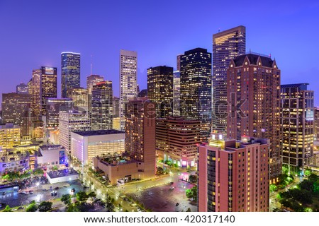 Houston, Texas, USA downtown city skyline. - stock photo