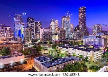 Houston, Texas, USA downtown city skyline at twilight. - stock photo